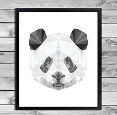 Wanddeko - Digital Plakat Geometrische Panda Illustration - ein Designerstück von DesignClaud bei DaWanda