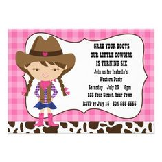 Cool Cowgirl Birthday Party Invitations