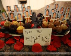 "Ha! Make ""Stud Muffins"" for bachelorette party snacks!"