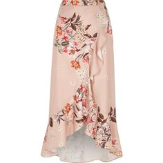 River Island Pink floral print frill hem wrap maxi skirt (700 HNL) ❤ liked on Polyvore featuring skirts, maxi skirt, pink, sale, women, floral maxi skirts, pink floral skirt, wrap skirt, floral skirt and long floral skirts