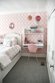Mounted Wall Desks make room for trundles underneath beds Girl Bedroom Walls, Bedroom Wall Colors, Bedroom Decor, Bedrooms, Bedroom Ideas, Girls Room Design, Girl Bedroom Designs, Baby Room Design, Desk For Girls Room