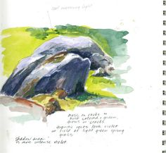 1. A wet brush on wet paper makes soft edges–which is good for making things look like they are foggy or in the background. 2. Dropping in solid color makes interesting variations that can no…