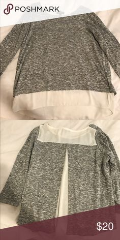 Grey and white blouse Grey sweater/blouse with sheet white underneath The Limited Tops Blouses