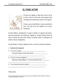 Preguntes explicites Catalan Language, Spanish Class, Comprehension, Valencia, Activities, Education, Reading, School, Acl