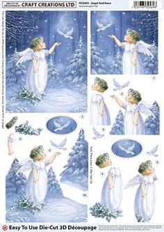 Angel And Dove foiled die-cut découpage – DCG005