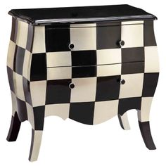 Fun for a bathroom, maybe! Bombe chest with a checkerboard design and 2 drawers. Product: ChestConstruction Material: WoodColor: Black and creamFeatures: Checkerboard designDimensions: H x W x D Lane Furniture, Funky Furniture, Painted Furniture, Furniture Design, Furniture Ideas, Refurbished Furniture, My Home Design, House Design, Accent Chests And Cabinets