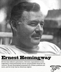 Ernest Miller Hemingway was an American author and journalist. His economical and understated style had a strong influence on fiction, while his life of adventure and his public image influenced later generation Nobel Prize In Literature, British Literature, Writers And Poets, Writers Write, Ernest Hemingway, Very Short Stories, The Sun Also Rises, Writer Workshop, First Novel