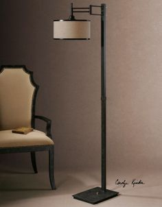 "Uttermost Prescott 28587 Metal Floor Lamp with pivot.  12"" diameter X 65"" high."