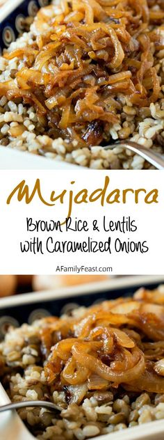 Mujadarra (brown rice, lentils and caramelized onions) - Don't be fooled by the simple ingredients in this classic Middle Eastern dish! A delicious side made from caramelized onions over lentils and brown rice. Simple but delicious! Veggie Recipes, Indian Food Recipes, Whole Food Recipes, Cooking Recipes, Healthy Recipes, Vegan Brown Rice Recipes, Brown Rice And Quinoa Recipe, Simple Vegetarian Recipes, Simple Food Recipes