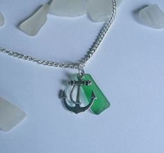 Green beach sea glass necklace with by EgyptianInspirations, $23.99