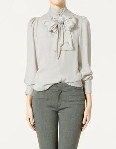 gray monochrome outfit with pussy bow blouse