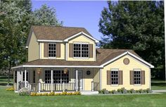 Country Plan: 1,586 Square Feet, 4 Bedrooms, 2.5 Bathrooms - 340-00020   Functional floor plan   Realistic   average home