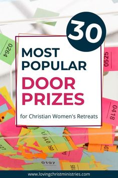 Door prize time brings giggles and cheers and helps the ladies feel extra special. Here are our 30 most popular door prizes. #womensministry #doorprizes