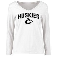 Northern Illinois Huskies Women's Proud Mascot Slim Fit Long Sleeve T-Shirt - White