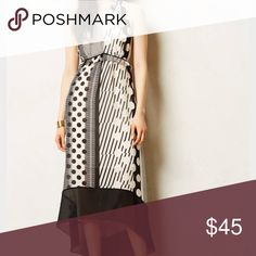 Anthropologie Maeve black and white dress - sz 10 Anthropologie Maeve black and white dress - sz 10 - black and white asymmetric hem dress - fully lined - various print motifs - dress worn only a few times - still new Anthropologie Dresses High Low