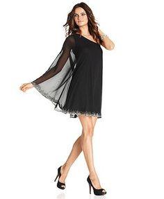 JS Boutique Dress, One-Shoulder Beaded - Womens Dresses - Macy's