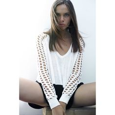 Dylan #Pullover Open Holes Long #Sleeve #Knit Spring #Sweater White One Grey Day-S