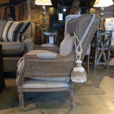 Elise Chair #andrewmartin #interiordesign #decor #wood #fabric #neutral #white #tan #furniture #chair