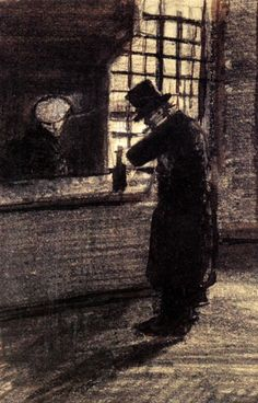Man in a Village Inn - Vincent van Gogh . Created in The Hague in March, Located at Van Gogh Museum. Find a print of this Letter Sketches Rembrandt, Vincent Van Gogh, Van Gogh Drawings, Van Gogh Paintings, Georges Seurat, Claude Monet, Henri De Toulouse-lautrec, Van Gogh Arte, Artist Van Gogh