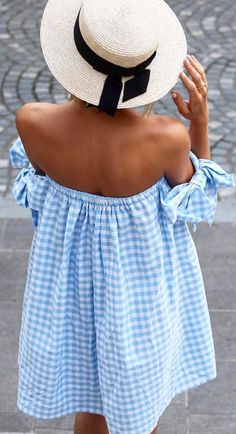 Baby blue gingham dress