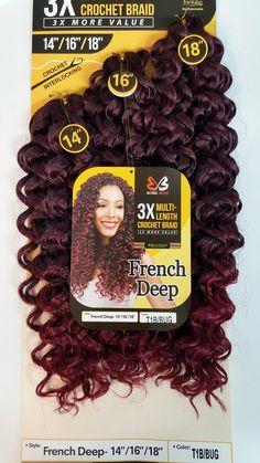"Bobbi Boss 3x Multi-Length Crochet Braid 14""/16""/18"" - FRENCH DEEP"
