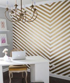 Gold Walls...I could never do this straight, but this gave me an idea for redoing our chandelier....painting gold and stringing crystals on??