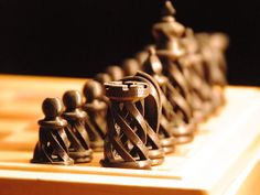 Spiral Chess Set 3D Printed // Chess Pieces // Custom by Edge3D