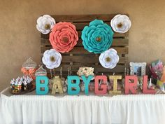 Diy Paper Flowers Coral And Teal Babyshower Babygirl Rustic Chic Babyshower