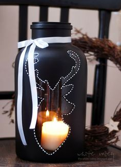 xmas noir - DIY glass jar lantern :)