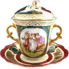 Antique porcelain trembleuse cup saucer Austria Wheelock c. 1890s from victoriascurio on Ruby Lane