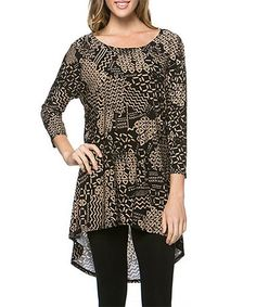 Another great find on #zulily! Black & Beige Abstract Hi-Low Tunic #zulilyfinds