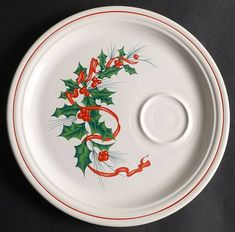 Homer Laughlin Holiday Fiesta (With Ribbon) Snack Plate China Food, Homer Laughlin, Coordinating Colors, China Dinnerware, Road Trips, Holiday, Christmas, Ribbon, Plates
