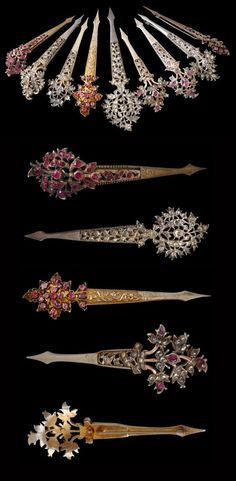 Sri Lanka | This collection of nine silver (some with gold) hairpins are set with pink sapphires, emeralds and clear stones known locally in Sri Lanka as Matara 'diamonds' (white zircons) | Late 19th to early 20th century | POR || Such hairpins were worn by women in the 'Low Country' regions of Sri Lanka from the 18th through to the early 20th century.