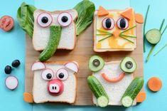 Sandwiches mit kreativer Deko für Kindergeburtstag - Animal Snacks For Kids That Are YUM And FUN - Food Art For Kids, Crafts For Kids, Toddler Meals, Kids Meals, Fun Sandwiches For Kids, Breakfast Sandwiches, Picnic Sandwiches, Fruits Decoration, Animal Snacks