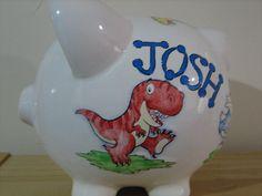 Personalized Large Dinosaur Piggy by KUTEKUSTOMKREATIONS on Etsy, $25.99 Largest Dinosaur, Piggy Banks, Ring Bearer, Newborns, Baby Showers, Baby Shower Gifts, Jars, Bottles, Centerpieces