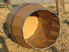 """wooden"" barrel w/cardboard and duct tape. Need to make at least 3 of these!"