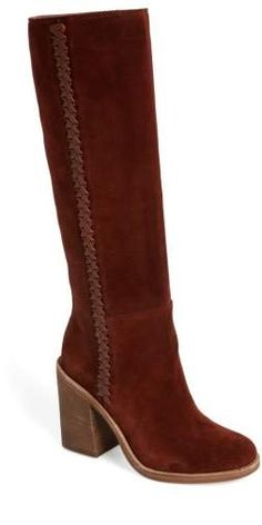 91adee1d04bc Brown UGG suede boots with block heal and whipstitched leather trim.