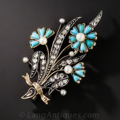 Victorian Turquoise Flower Brooch. A beautiful bouquet of pearl centered turquoise flowers bloom with rose-cut diamond stems and leaves in this cheerful Victorian charmer all tied up with a rose gold bow. Hand crafted in silver over gold, circa 1860. 1 1/2 tall by just shy of 1 inch wide.