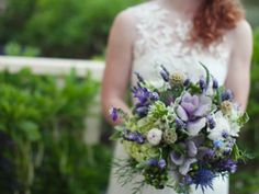 Stunning purple bridal bouquet by Floralisa, East Bay, California.