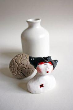 Bust sculpture clay figure girl bust modern home decor by jokamin