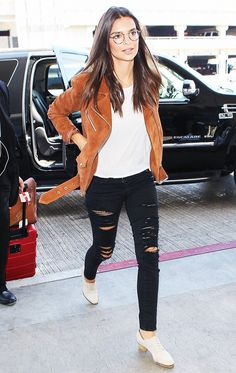 Emily Ratajkowski in the VEDA Jayne suede motorcycle jacket featured in 15 Celebrity Outfit Ideas Perfect for the End of Summer via @WhoWhatWear