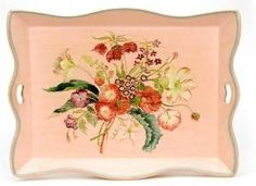 hand painted queen's tray w/ floral bouquet from #thewellappointedhouse