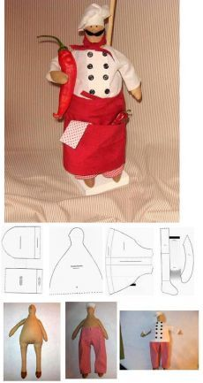 Chef Doll to make Doll Sewing Patterns, Sewing Dolls, Doll Clothes Patterns, Craft Patterns, Fabric Toys, Doll Tutorial, Waldorf Dolls, Soft Dolls, Doll Crafts