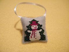 Prairie Schooler Snowman cross stitch Christmas ornament