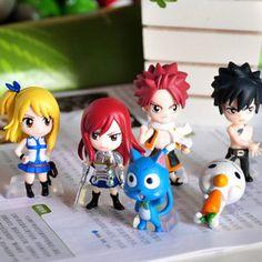 "New Set of 6pcs Fairy Tail ""Natsu Happy Lucy Gray Elza"" Mini Figures | eBay"