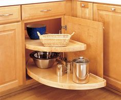 Cabinet with lazy susan open for easy access
