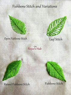 Ribbon Embroidery Patterns Royce's Hub: Embroidery Stitches For Leaves : Fishbone Stitch and Variations - 2 Embroidery Leaf, Embroidery Stitches Tutorial, Hand Embroidery Patterns, Embroidery Techniques, Embroidery Designs, Embroidery Needles, Knitting Stitches, Embroidery Digitizing, Embroidery Sampler
