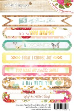 This is the 4x6 Sentiments Sticker from the Strawberry Fields collection from Webster's Pages.