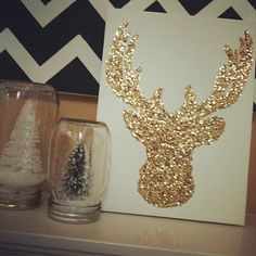 Glitter Reindeer on Canvas. Could do with any animal I suppose. Use glitter, a canvas, a template or draw it on yourself, glue painted on with a brush, and a toothpick to smooth out your lines. Shake off excess glitter then spray the whole thing with extra-hold hairspray.