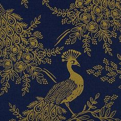 Rifle Paper Co. : Menagerie : Navy Royal Peacock : Cotton Linen Canvas